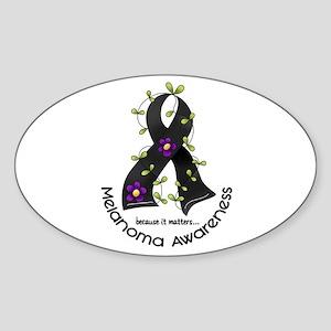 Flower Ribbon MELANOMA Oval Sticker