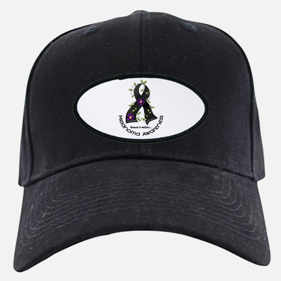 Flower Ribbon MELANOMA Baseball Hat