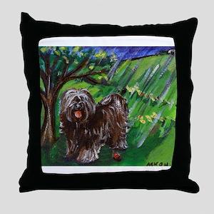 Tibetan Terrier Spring Season Throw Pillow