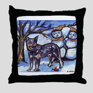 Australian Cattle Dog Winter Throw Pillow