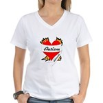 Autism Advocate Tattoo Heart Women's V-Neck T-Shir
