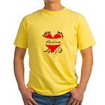 Autism Advocate Tattoo Heart Yellow T-Shirt