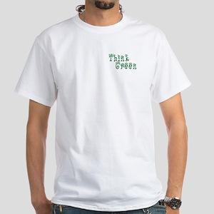Think Green Mens White T-Shirt