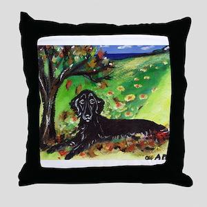 FLATTIE Fall Seasons dog art  Throw Pillow