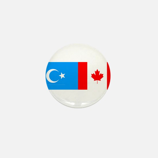 Uyghur and Canadian Flag Mini Button (10 pack)