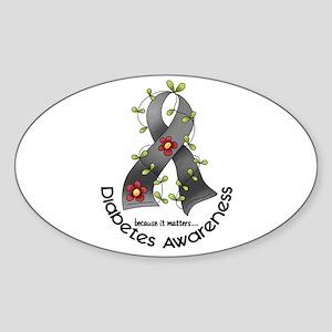 Flower Ribbon DIABETES Oval Sticker