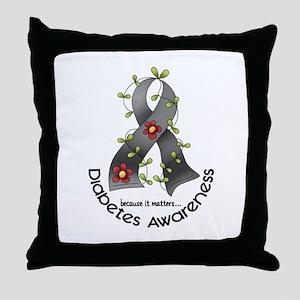 Flower Ribbon DIABETES Throw Pillow