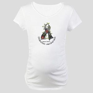 Flower Ribbon DIABETES Maternity T-Shirt