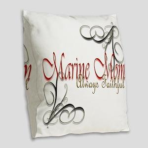 Swirl Marine Mom Burlap Throw Pillow