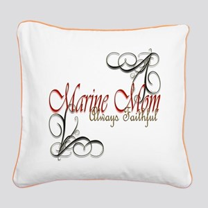 Swirl Marine Mom Square Canvas Pillow