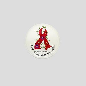 Flower Ribbon HIV AIDS Mini Button