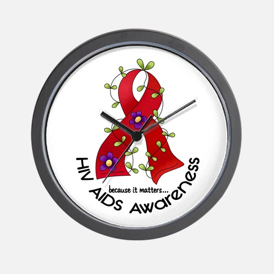 Flower Ribbon HIV AIDS Wall Clock