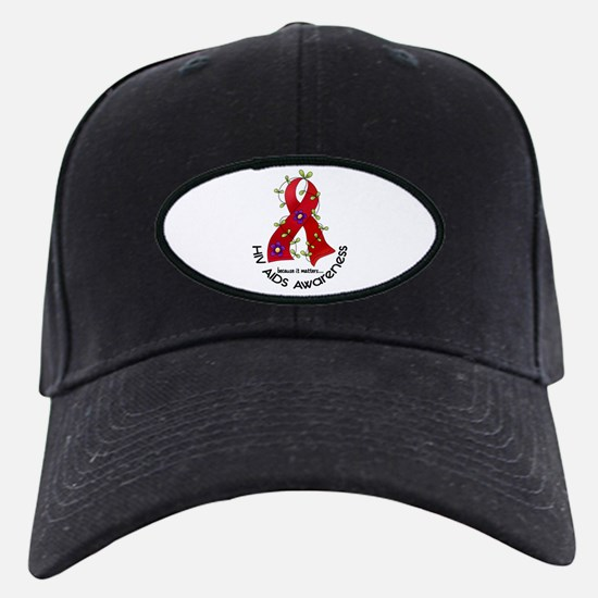 Flower Ribbon HIV AIDS Baseball Hat
