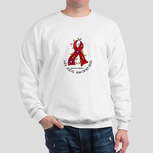 Flower Ribbon HIV AIDS Sweatshirt