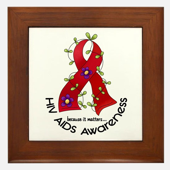 Flower Ribbon HIV AIDS Framed Tile