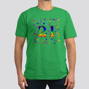 Rainbow Stars 21st Birthday Men's Fitted T-Shirt (