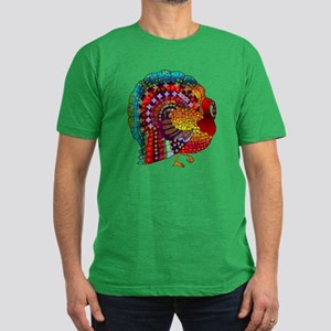 Thanksgiving Jeweled Turkey Men's Fitted T-Shirt (