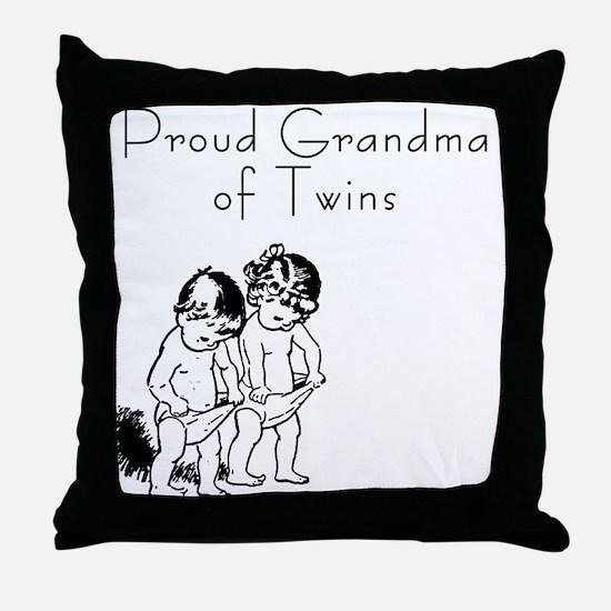 Proud Grandma of Twins BG Throw Pillow