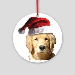 Christmas Golden Retriever Santa Cl Round Ornament