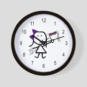 Girl & Mardi Gras Wall Clock