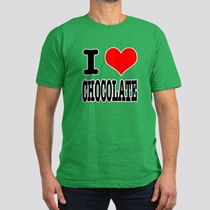 I Heart (Love) Chocolate Men's Fitted T-Shirt (dar