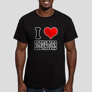 I Heart (Love) Elevators Men's Fitted T-Shirt (dar
