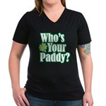 Who's Your Paddy? Women's V-Neck Dark T-Shirt