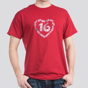 Sweet 16 Daisy Heart Dark T-Shirt