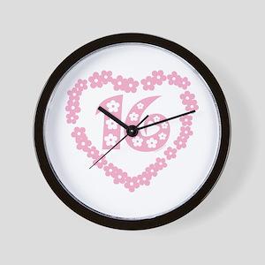 Sweet 16 Daisy Heart Wall Clock
