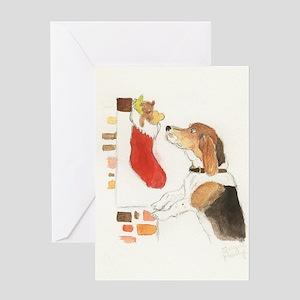 Christmas Beagle Original Paintin Greeting Cards