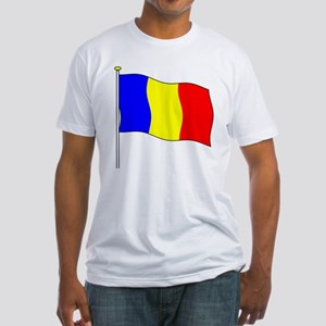 Romania Flagpole Fitted T-Shirt