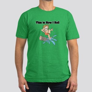 How I Roll (Log Rolling) Men's Fitted T-Shirt (dar