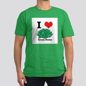 I Heart (Love) Green Beans Men's Fitted T-Shirt (d