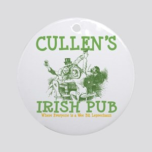 Cullen's Irish Pub Personalized Ornament (Round)
