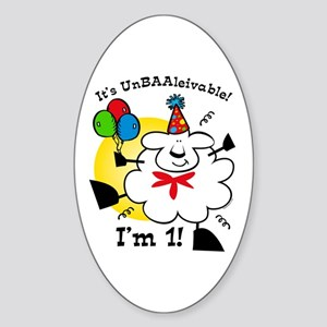 UnBAAlievable 1st Birthday Oval Sticker