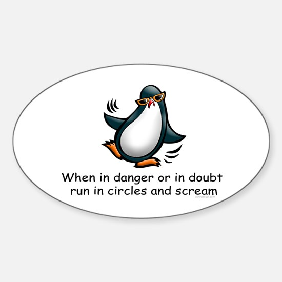 Screaming Penguin Oval Decal