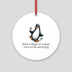 Screaming Penguin Ornament (Round)
