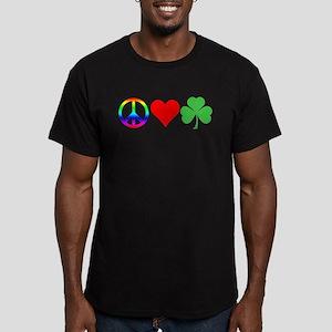 Peace Love Shamrock Irish Men's Fitted T-Shirt (da
