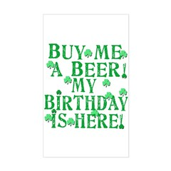 Buy Me a Beer Irish Birthday Sticker (Rectangle)