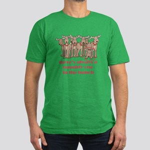 Naughty Reindeer Men's Fitted T-Shirt (dark)