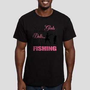 Real Girls Go Fishing Men's Fitted T-Shirt (dark)