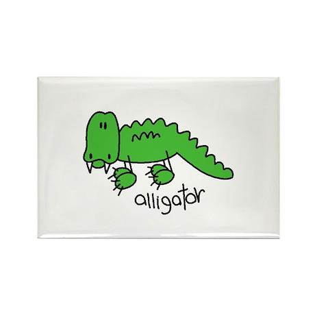 Stick Figure Alligator Rectangle Magnet (100 pack)