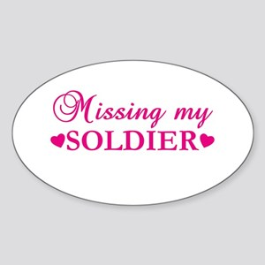 Missing My Soldier (pink) Oval Sticker