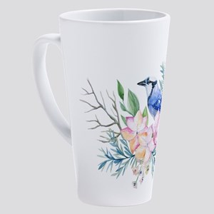 Blue Jay Bird on Floral Arrangemen 17 oz Latte Mug
