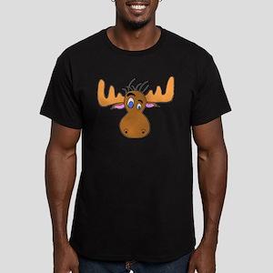 Cartoon Moose Antlers Men's Fitted T-Shirt (dark)