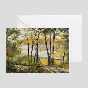 Early Fall Lake Grange Greeting Card