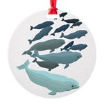 Beluga Whale Art Round Ornament