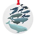 Beluga Whale Art Round Ornament