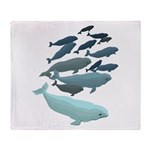 Beluga Whale Art Throw Blanket