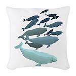 Beluga Whale Art Woven Throw Pillow